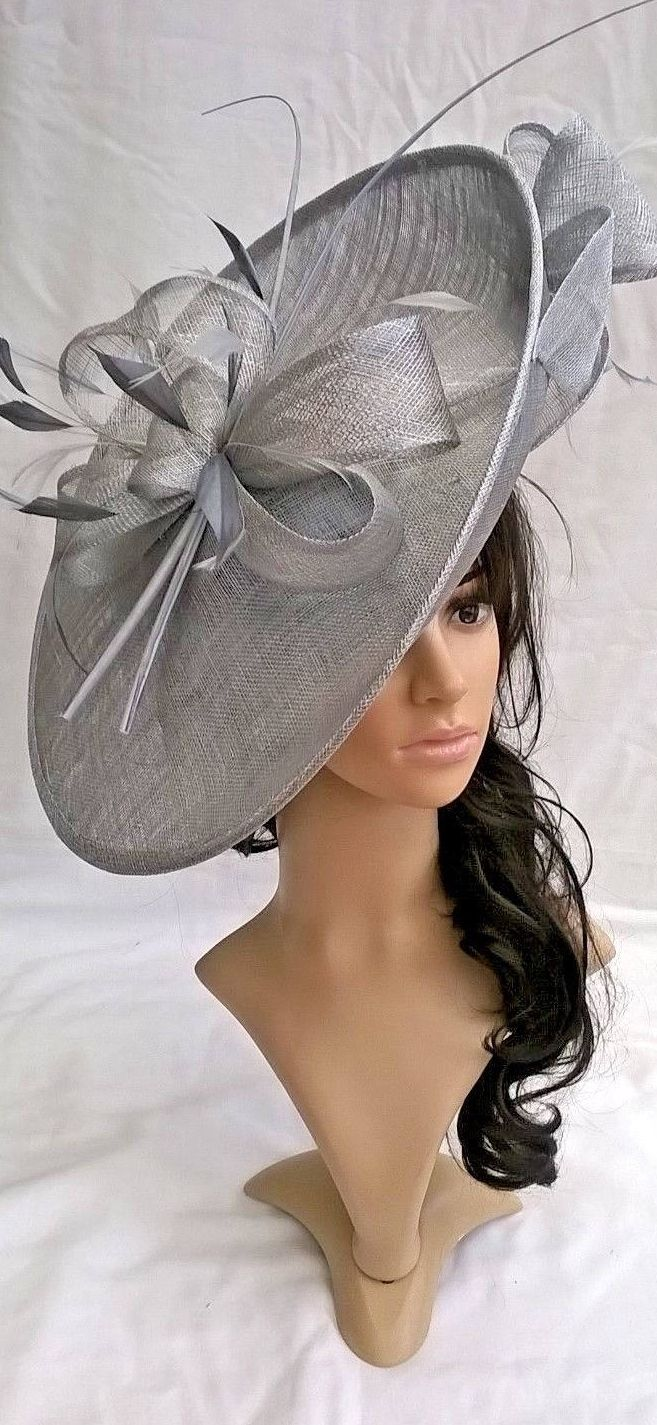 Silver Large Hatinator Saucer Fascinator Hat for Summer Weddings ... f316a7c2b48