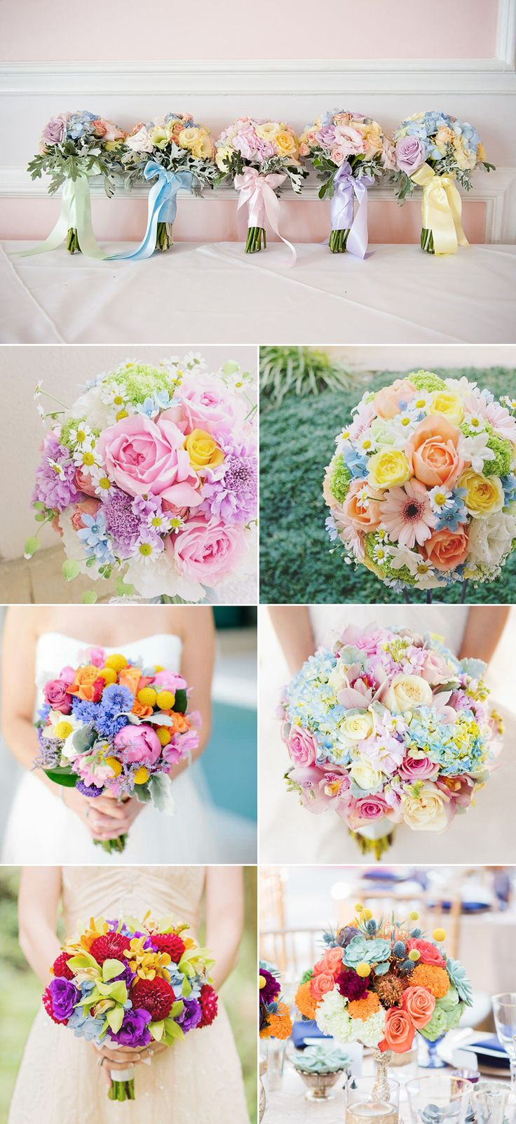 Pastel Rainbow Romance!  23 Colorful Rainbow Bouquets We Love! Round Bouquets
