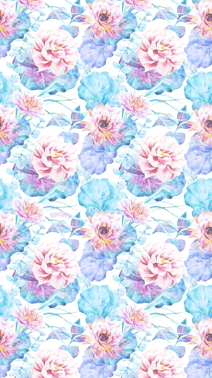 Phone Wallpapers HD Watercolor Flowers Pattern - by BonTon TV - Free Backgro… | Flower phone ...