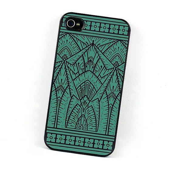 Coque iPhone géométrique, Art déco bleu sarcelle et noire Coque iPhone 6 en plastique, …   – Products