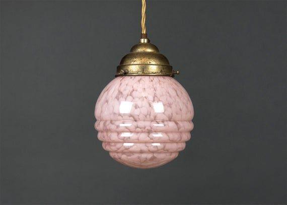 Charmante Vintage Deckenlampe Antike Hangelampe Im Art Deco Stil Original 1930er Marmoriertes Gestepptes Glas Kugel Rosa Mid Century In 2020 Art Nouveau Lamps Light Art Vintage Lighting