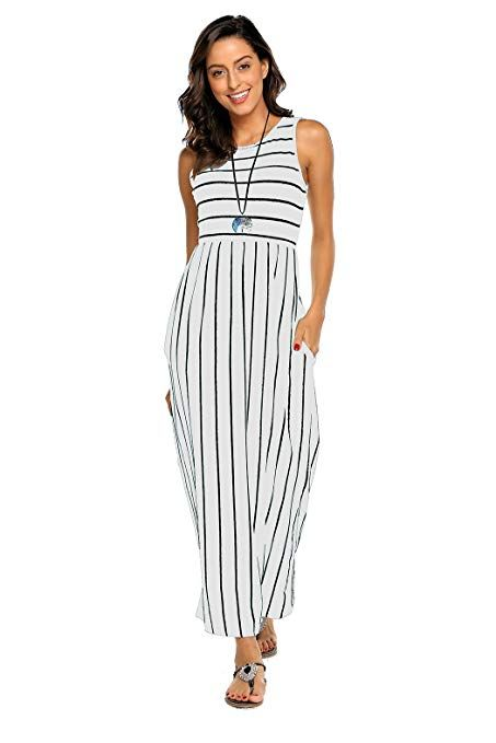1a63463cc5532 Hount Women's Summer Sleeveless Striped Flowy Casual Long Maxi Dress with  Pockets #Dresses, #Clothing, #Women, #Clothing, Shoes & Jewelry,
