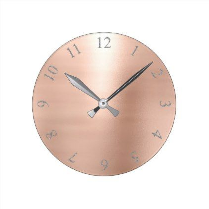Rose Blush Pink Glitter Gray Silver US UK Numbers Round Clock - girly gift gifts ideas cyo diy special unique