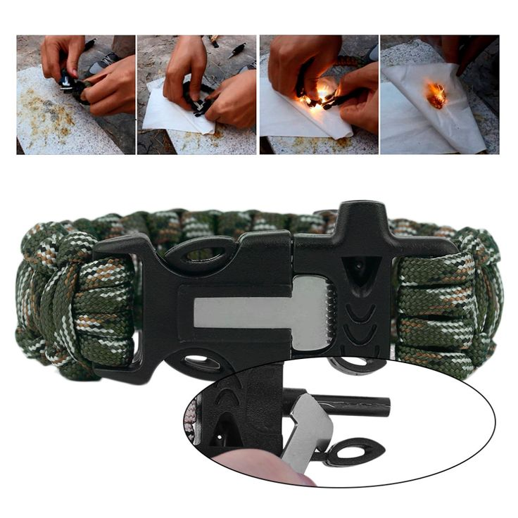 4 in 1 Multifunctional Ourdoor Paracord Survival Flint Fire Whistle Camping Rescue Umbrella Rope Cutter Escpe Bracelet Tactical(China (Mainland))
