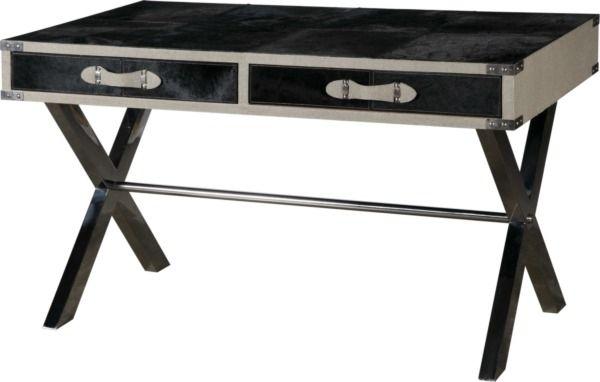 Размер (Ш*В*Г): 130*76*70 Стильный и роскошный, этот стол создан, чтобы ежедневно дарить Вам удовольствие от работы и удивлять Ваших посетителей.  Футуристический дизайн и обивка из дорогой кожи привнесут в кабинет ощущение лакшери и настроят на успех.             Материал: Металл, Кожа натуральная.              Бренд: MHLIVING.              Стили: Лофт.              Цвета: Черный.