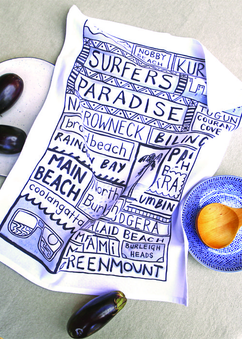 Australia Travel Destination Tea Towel - Surfers Paradise Souvenir