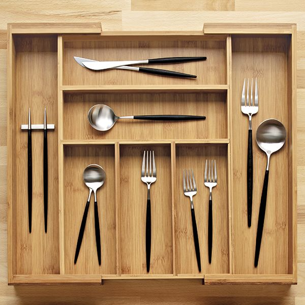 Expandable Bamboo Cutlery Tray Container Store