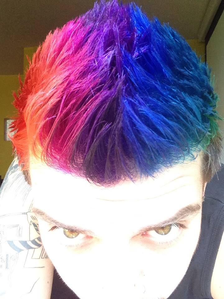 Rainbow hair (finally a pic of a rainbow hair on a man!)