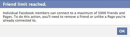 Facebookページへのいいね!数の上限は(1アカウント)5000まで。それ以上はこのエラー表示。日本語の場合は「友達の上限に達しました。申し訳ありませんが、さらに友達リクエストを送信したり、Facebookページのファンになるには、既存の友達またはページを削除して頂く必要があります」と表示されるようです。