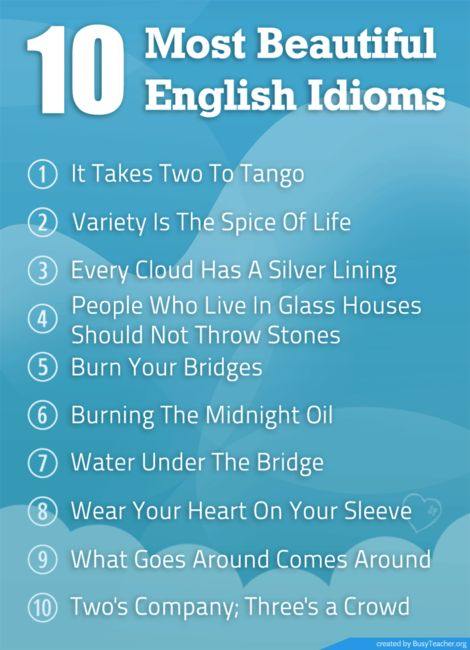 POSTER: 10 Most Beautiful English Idioms