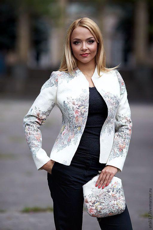 Купить Жакет Анаис- войлок - белый, цветочный, жакет из войлока, жакет валяный, валяная одежда