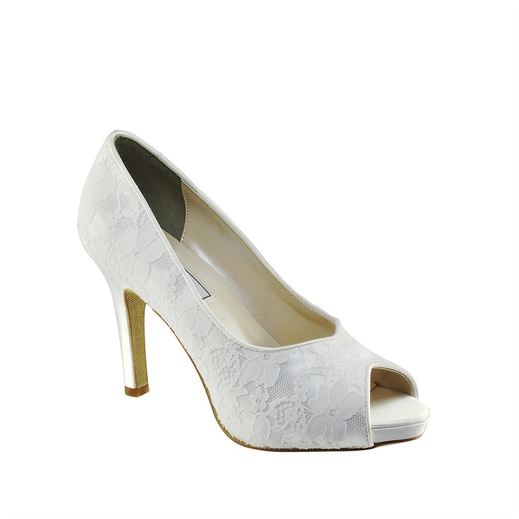 Catalina White Satin Lace Dyeable Open Toe Pumps Shoes