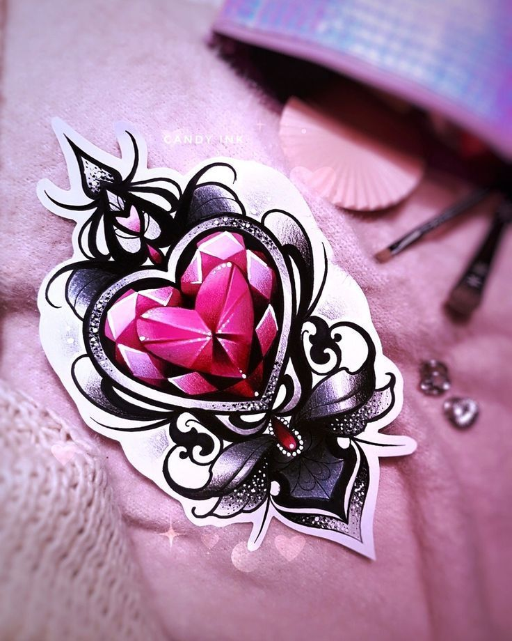 Tattoo Design Model Image Description Neo Traditional Girly Tattoo Design Red Black Crystal Diamond Heart Glitter In Tattoo Dovme Dovme Fikirleri