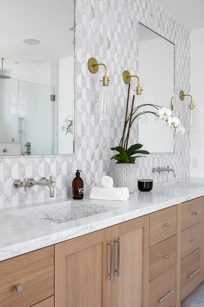 Slab Marble Sink Countertop Is Carrara Marble Sinks Are Custom Made Slab Stone Sinks Modern Master Bath Oak Bathroom Vanity Master Bath Vanity