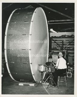 Remo Belli of Remo Drumhead fame with the gigantic bass drum.