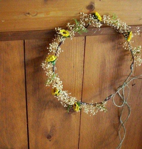 bride sunflower crown rustic hair - Google Search