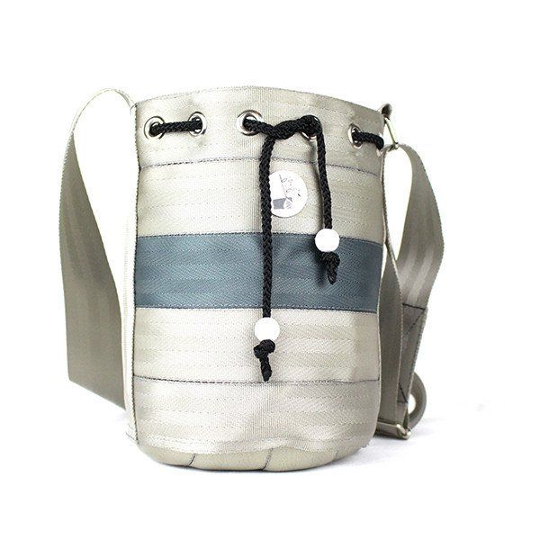 Small Seat Belt Bucket Bag - Handcrafted and sourced in Malaysia - Upcycled using discarded seat belts - Sustainable and Ethical Fashion Accessories