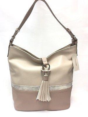 3 Tone Hobo Shoulder Handbag Flap Stringe Design By David Jones Paris NWT