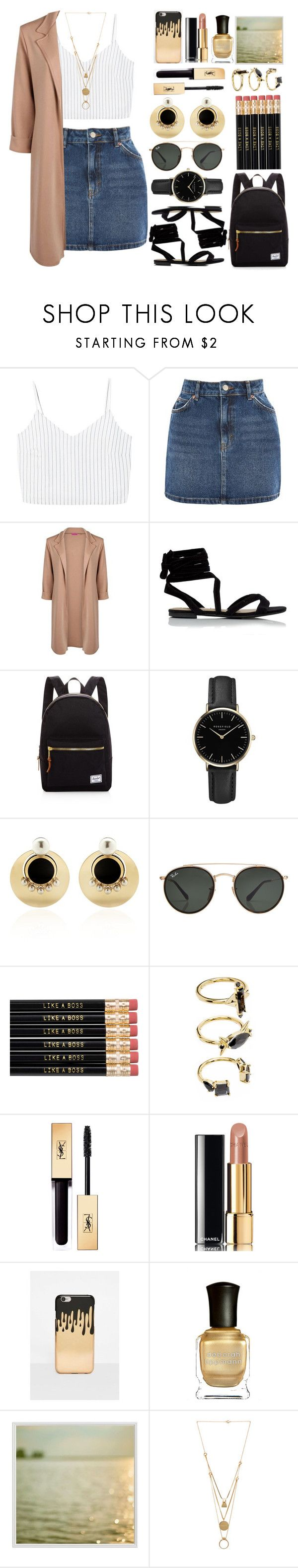 """lively"" by dandydesigns ❤ liked on Polyvore featuring MANGO, Topshop, Boohoo, Herschel Supply Co., ROSEFIELD, Anton Heunis, Ray-Ban, Noir Jewelry, Chanel and Missguided"