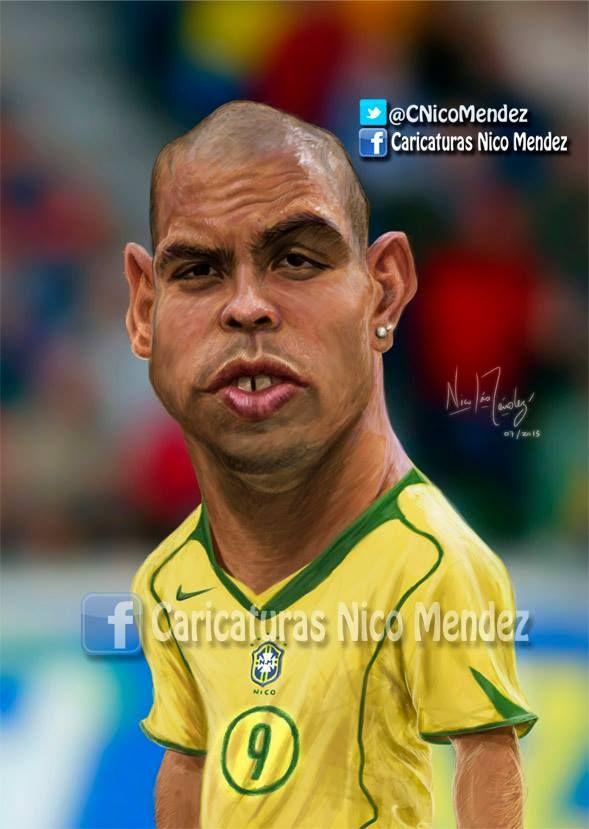 """(Caricatura) Ronaldo """"El fenomeno"""" Quien lo vio jugar sabe porque tiene ese apodo! / Brasil"""