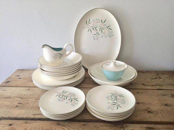 Taylor Smith Petal Lane Vintage Dinnerware Set Retro Kitchen Bridal Shower Party Tableware Christmas Gift Free Shipping by VintageFlicker