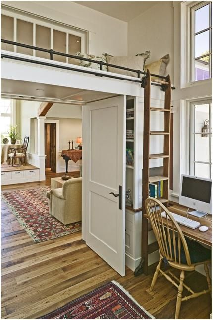 an interesting place to put a lofted bed: Office, Ladder, Interior, Idea, Dream House, Reading Nooks, Room