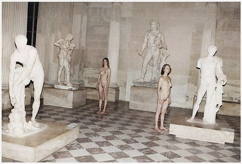 Raquel Zimmerman and Charlotte Rampling at the Louvre photographed by Juergen Teller