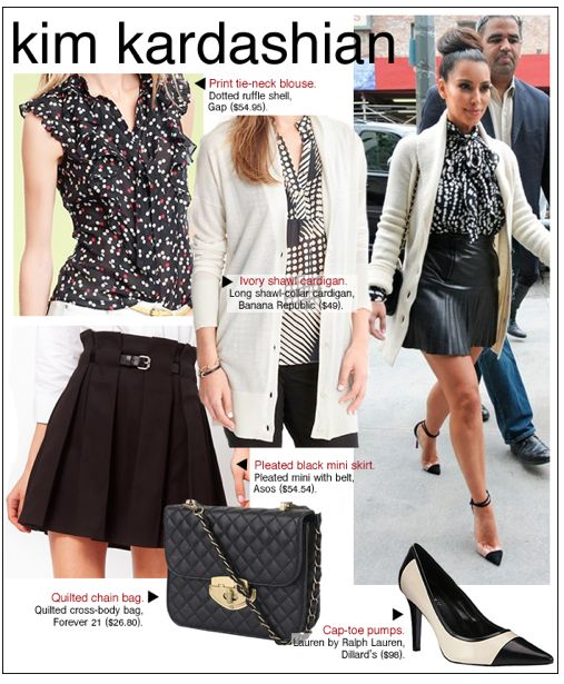 Kim Kardashian Style 2012 – Celebrity Look for Less – Black Pleated Mini Skirt & Pumps | In style Celebrity Looks for Less, Fashion 2011– Fashion Blog