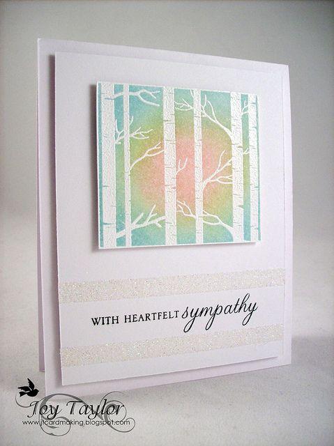 Through the Trees - blog post 4/1/2011 - Joy TaylorBlends Ink, Blends Backgrounds, Heartfelt Sympathy, Sympathy Cards, Mondays, Handmade Cards, Ink Blends, Sunsets Cards, Backgrounds Cards