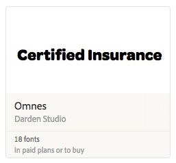 Omnes - I chose this font because I felt like the bold and black included  communicated seriousness. I also felt the fact that the letters looked big related to that this company would understand insurance is a big deal/job.