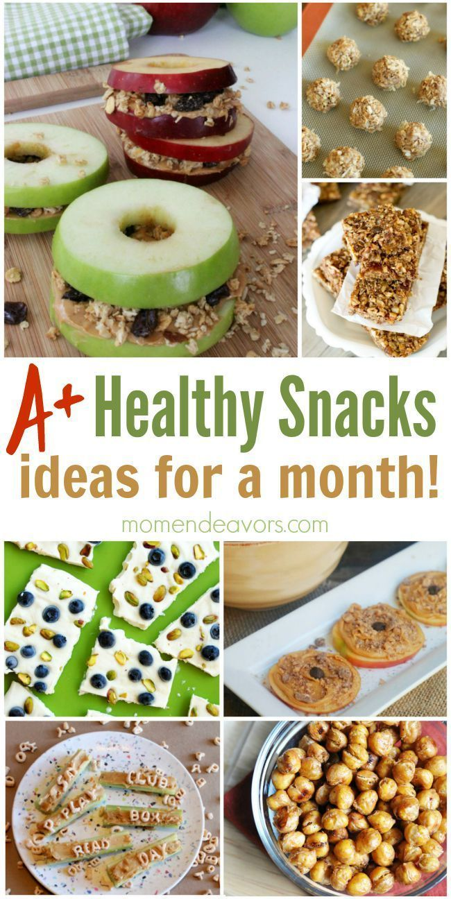 A month of healthy snack ideas! A great list, perfect for after-school snacks!
