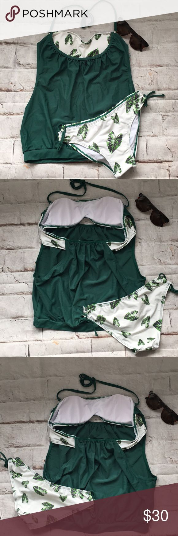Tankini Attached Bandeau Bikini Bottom Green White Swim Suit Tankini 2Pc Green & White Floral Bandeau Fit Bikini Top With Cut Out Sides On Top String Tie Bottom  NWOT Liner Intact  Size L Feilima Swim