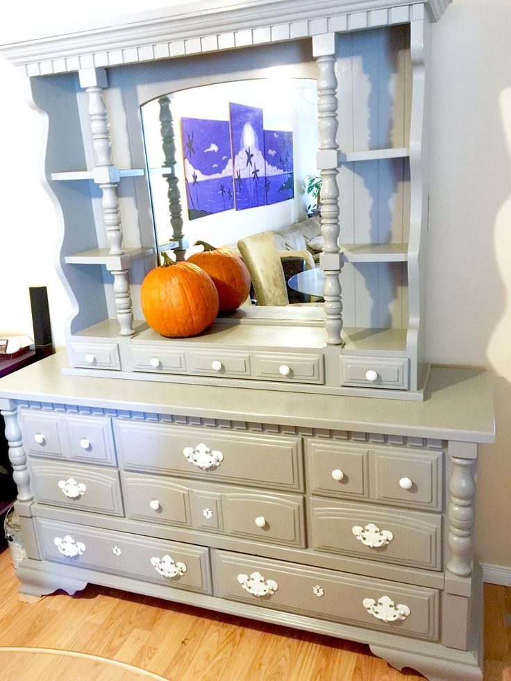 By Danielle the 'Mud PRINCESS' @ Junk PRINCESS Removal. This vintage (70's) 9 drawer dresser with mirror hutch was very beat up with lots of scratches and dents. Major transformation