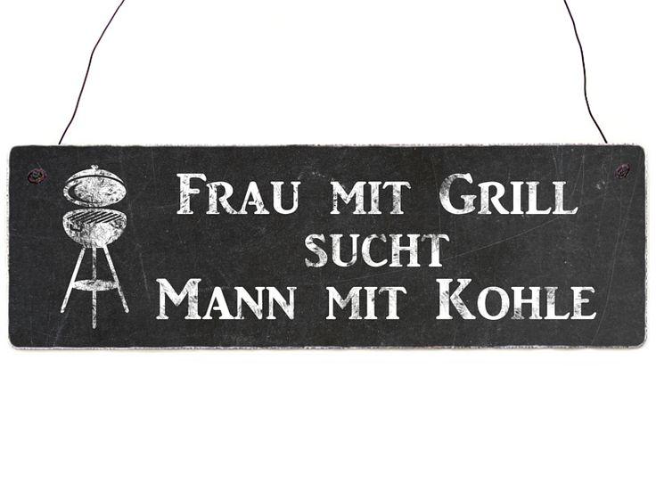 FRAU MIT GRILL SUCHT MANN MIT KOHLE Shabby Schild von Interluxe via dawanda.com
