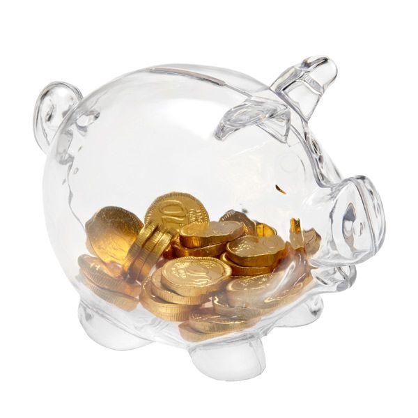 piggy bank clear- teaching money, money games