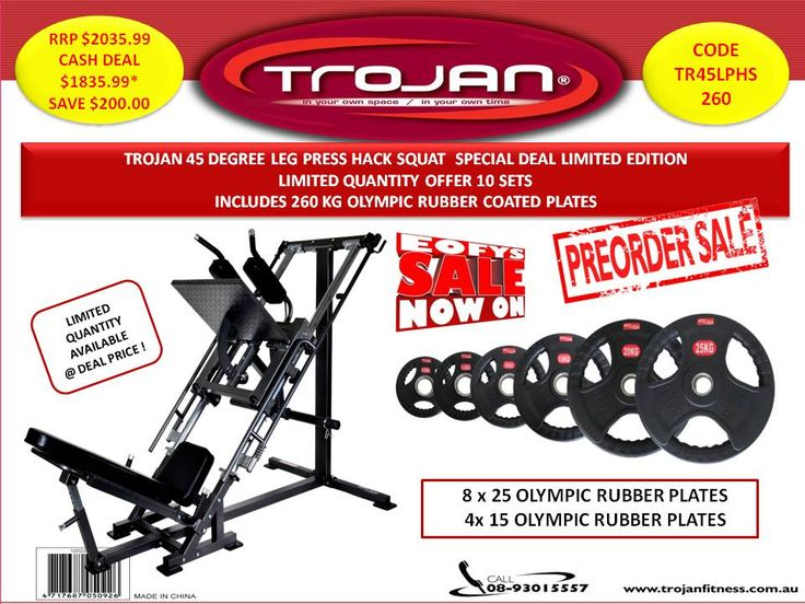 Packages : Leg Press 45 Degree Hack Squat Machine + 260 Kg Olympic Rubber Plates Pre-Order Sale - Trojan Fitness