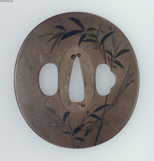 aleyma: Chikon, Tsuba with design of bamboo, early-mid 19th century (source).