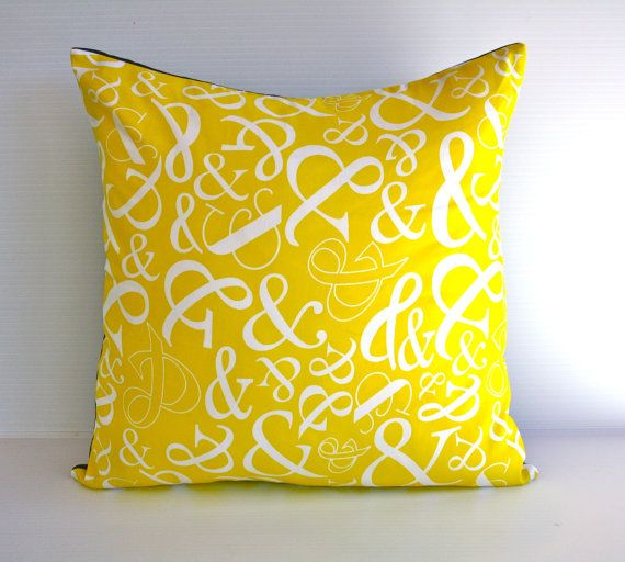 Yellow Cushion cover pillow AMPERSAND cushion by mybeardedpigeon, $49.00