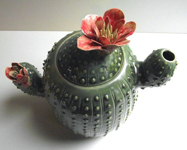 ceramic decoration teapot cactus green etsy