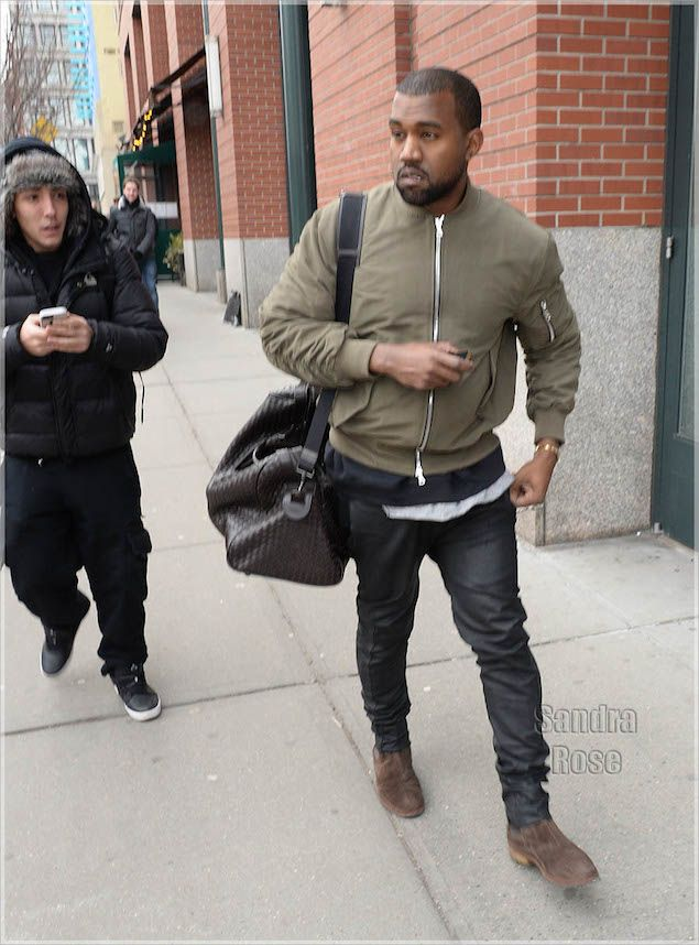 Kanye West wears Fear of God LA Bomber Jacket and Bottega Veneta Boots. Weather you like him or not, you can't fault his style!