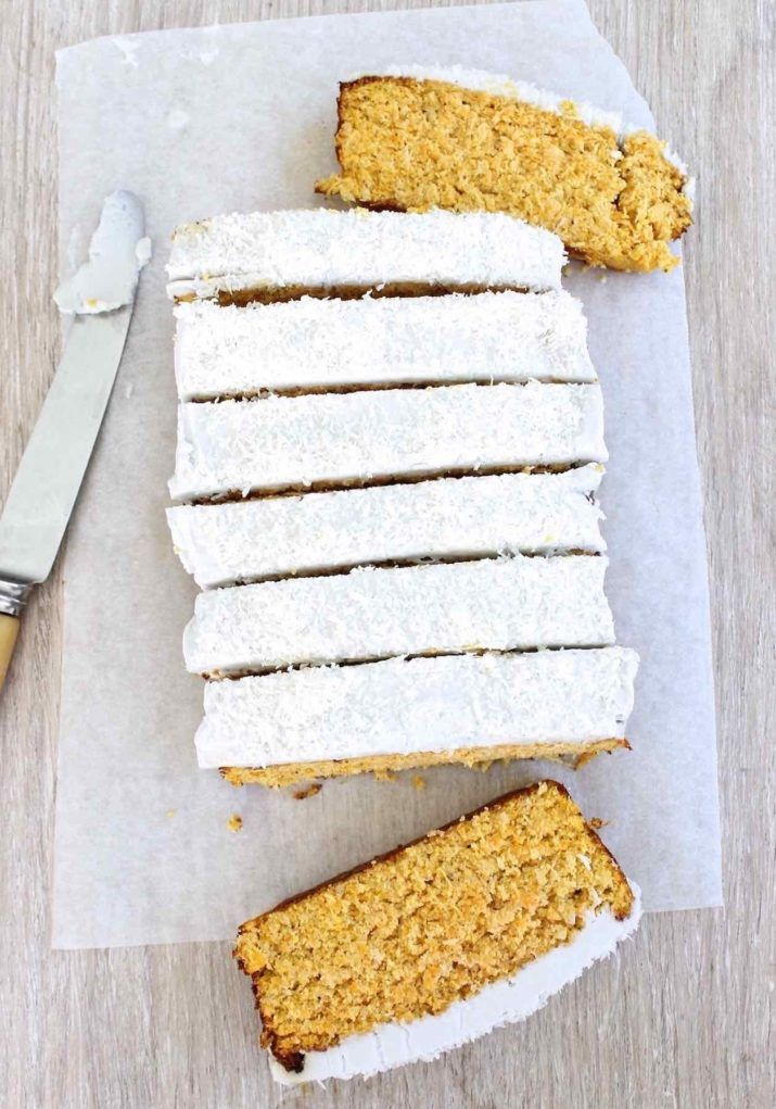 A delicious, moist, gluten, grain free and refined sugar free carrot coconut cake recipe by Brisbane nutritionist Casey-Lee Lyons from Live Love Nourish