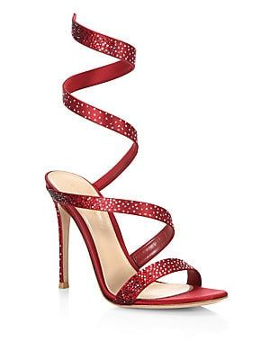 487e434c362d Gianvito Rossi - Opera Crystal   Satin Ankle-Wrap Birthday Sandals ...