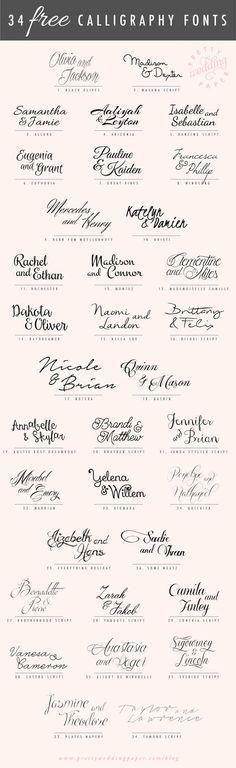 Tipografías caligrafía gratis, para partes de matrimonio