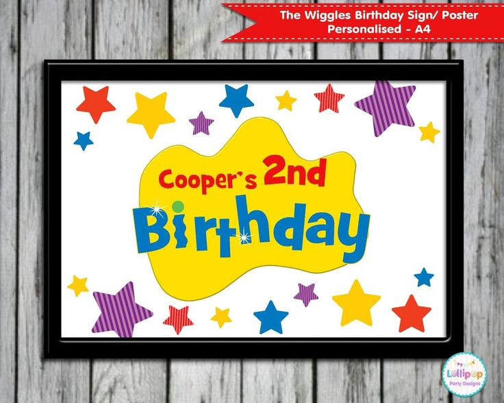 THE WIGGLES PERSONALISED BIRTHDAY SIGN POSTER WELCOME SIGN DECORATION WALL ART…