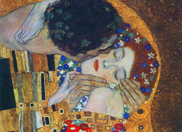 """Questa che segue è una fotografia dell'opera di Gustav Klimt conosciuta come """"Il Bacio"""",esposta presso l'Österreichische Galerie Belvedere di Vienna, citt"""