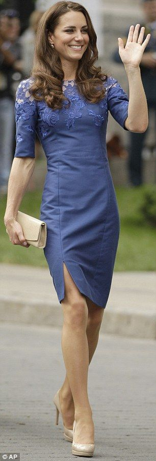 Kate Middleton, looking truly British in stunning electric blue Jacquenta dress by Erdem and L K Bennett pumps