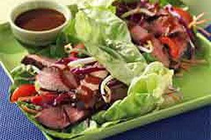 Teriyaki Steak Lettuce Wraps. Trying this next week!