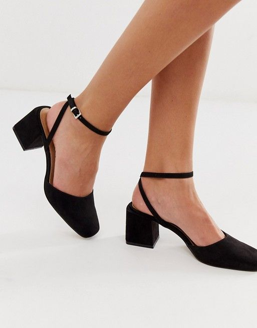 DESIGN Salvation block heeled mid shoes in black