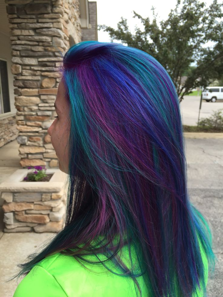 Peacock color, used locked in pravana in teal, blue and purple. Barb at miracle salon and spa