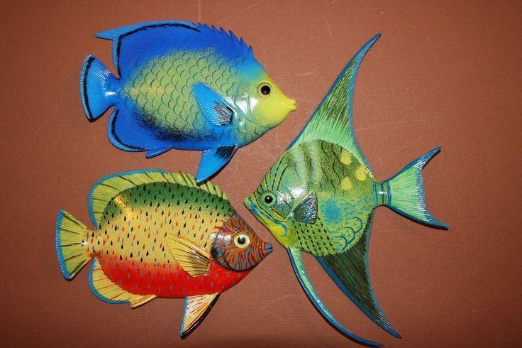 "(3), TROPICAL BATHROOM DECOR, TROPICAL FISH DECOR, 6"", VIVID COLOR, REALISTIC #Unbranded"